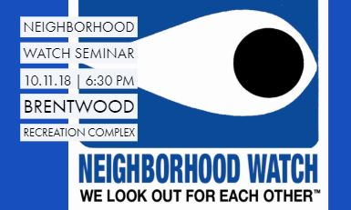 Neighborhood Watch Seminar 10.11.18
